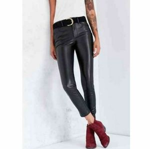 High Rise High waisted faux leather jeans/pants 26